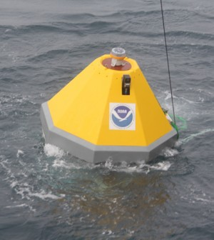 This NOAA ocean acidification buoy deployed near Iceland measures CO2 concentrations of the surface water and atmosphere, and seawater pH, temperature, salinity and oxygen (Credit: NOAA)