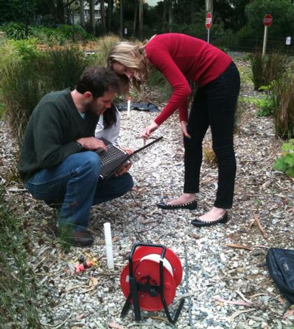 Measuring ground water parameters under a low-impact development feature on the San Francisco State University campus (Credit: Jason Gurdak)