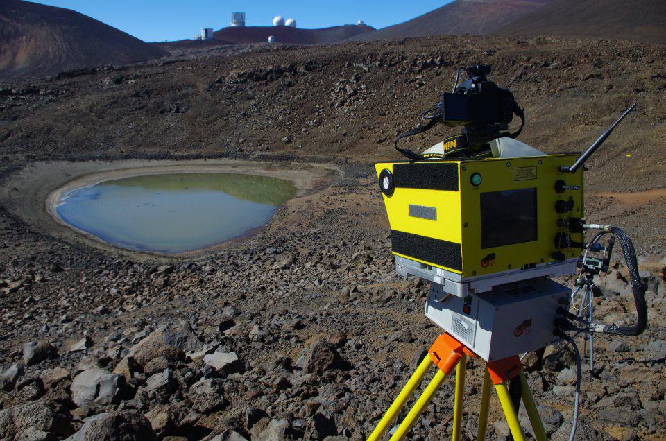 Terrestrial LiDAR overlooking Lake Waiau (Credit: Donna Departe)