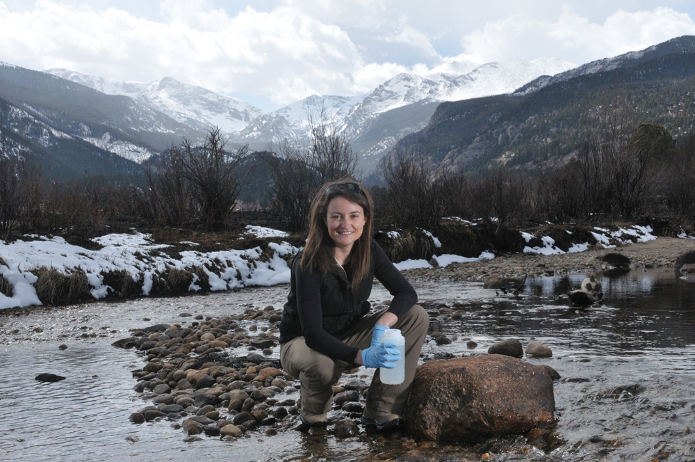 Lindsay Bearup collected water samples in the Big Thompson River (Credit: Thomas Cooper)