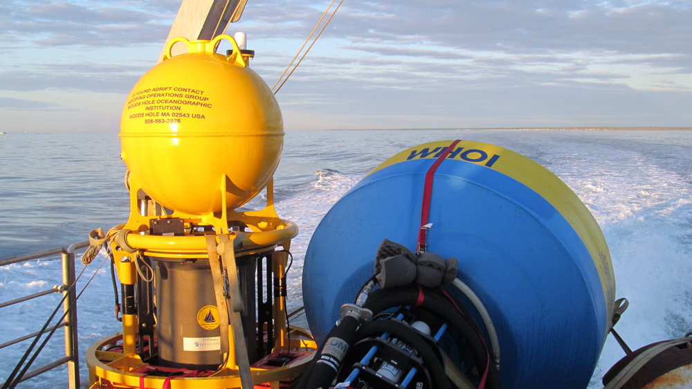 A WHOI ESP and buoy on the deck and ready for deployment (Credit: Woods Hole Oceanographic Institution)
