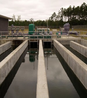 Chlorine contact chamber in a wastewater treatment plan (Credit: Steve, via Flickr)