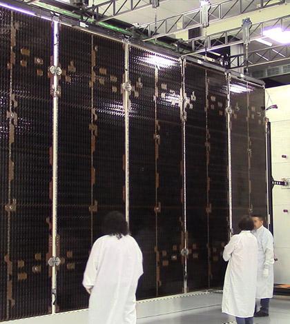 GOES-R solar array deployment at Lockheed Martin cleanroom in Sunnyvale, Calif. (Credit: Lockheed Martin)