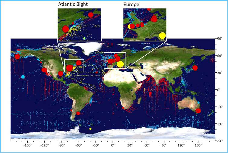 World map showing the location of jellyfish data held in the Jellyfish Database Initiative, JeDI