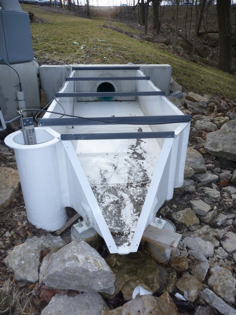 The study used an H-flume bubbler to measure flow (Credit: Rob Darner)