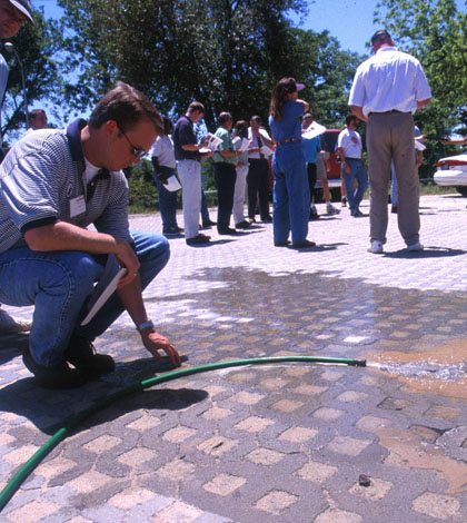 A permeable pavement feature in Kinston, N.C. (Credit: NCSU-BAE)