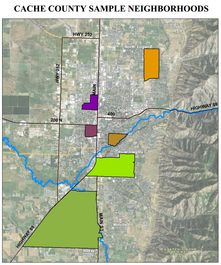 A map of Cache County, Utah, neighborhoods in the water survey sample (Credit: iUTAH)