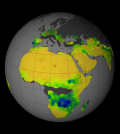 Satellite-derived image of the typical rain pattern for the Africa during the Southern Hemisphere's summer. (Credit: NASA Goddard's Science Visualization Studio/T. Schindler)