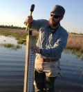 Root installed staff gauges at two potential crawfish frog reintroduction sites. (Credit: Brandon Root)