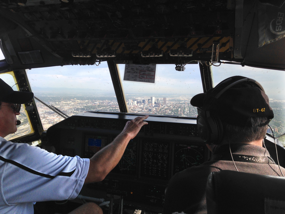 Scientists make a pass over Denver as part of the National Center for Atmospheric Research's FRAPPE air quality mission. (Credit: Frank Flocke)