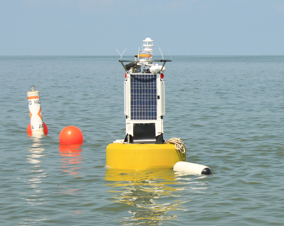 The new buoy will deliver algae data to the Toledo water treatment plant.  (Credit: Ed Verhamme)