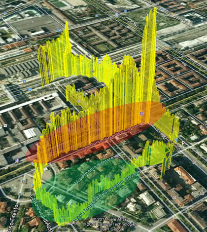 An example of measurements from EveryAware tools showing carbon monoxide measurements in Turin, Italy (Credit: EveryAware)