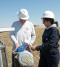 Ken Carlson and research associate check equipment at one of the Colorado Water Watch monitoring stations (Credit: Colorado State University)