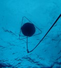 A view from below of the wave buoy bobbing off the coast of Hawaii's Majuro Atoll (Credit: PacIOOS)
