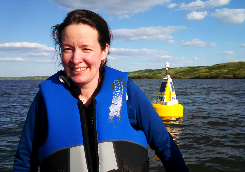 Helen Baulch, here on Buffalo Pound Lake, is a lead investigator on the buoy project. (Credit: Mike Voellmecke)