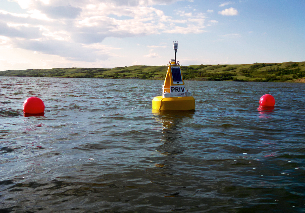 The Buffalo Pound Lake buoy sends data to University of Saskatchewan researchers and Buffalo Pound Water Treatment Plant operators. (Credit: Mike Voellmecke)