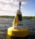 The water quality data buoy on bloom-prone Buffalo Pound Lake sends data to the water treatment plant. (Credit: Mike Voellmecke)