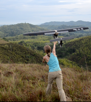 The ConservationDrones.Org crew launches a drone over Madagascar. (Credit: ConservationDrones.Org)