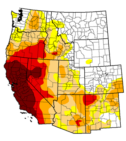 The National Drought Monitor's October report for the West (Credit: National Drought Mitigation Center)