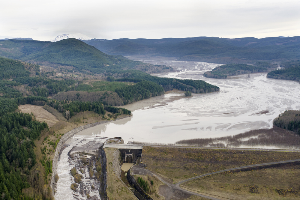 The Sediment Retention Structure on  the North Fork Toutle River (Credit: Adam Mosbrucker/USGS)