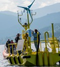 Laboratory staff test one of the two new buoys in Sequim Bay, Washington, before their deployments to measure offshore wind (Credit: Pacific Northwest National Laboratory)