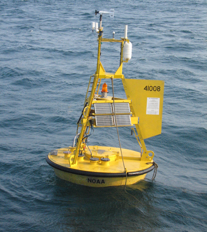 A PMEL buoy moored off the Georgia cost equipped with the MAPCO2 monitoring system (Credit: NOAA)