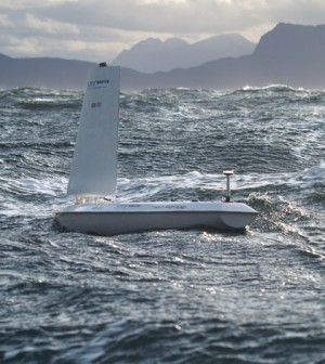 The SailBuoy on the water in another deployment (Credit: CMR Instrumentation)