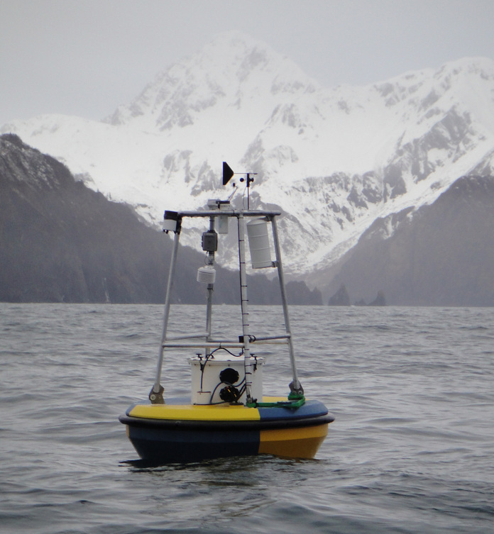 A MAPCO2-equipped buoy of the coast of Alaska, where it monitors ocean acidification. (Credit: Jeremy Mathis)