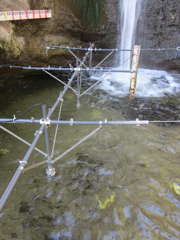 A closer look at the plunge pool setup, including Airmar sonar depth sensors. (Credit: Joel Scheingross)