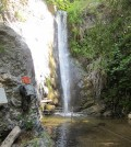 The waterfall in the San Dimas Experimental Forest where Sheingross' instruments have been denied the opportunity to measure a big sediment transport event. (Courtesy Joel Scheingross)