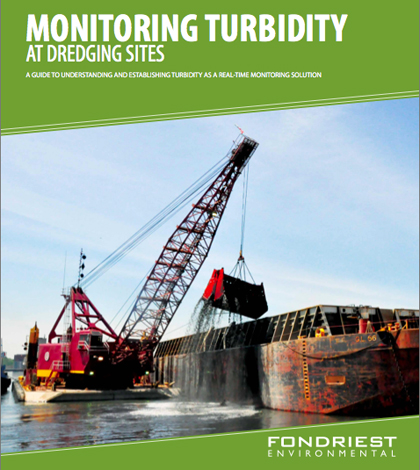 """The cover of Fondriest Environmental's new guide """"Monitoring turbidity at Dredging Sites"""" guide"""