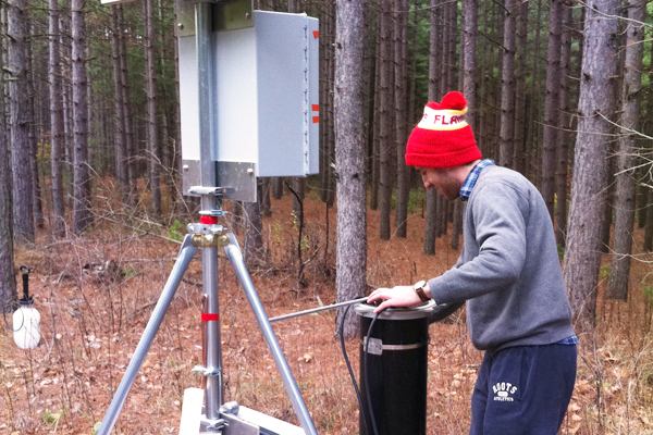 YSI EXO water quality sondes are deployed down the boreholes of the monitoring wells. (Credit: Graeme MacDonald)