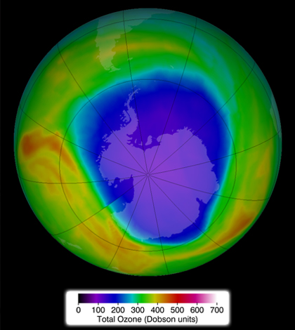 Ozone concentrations above Antarctica in late September 2014. (Credit: NASA)