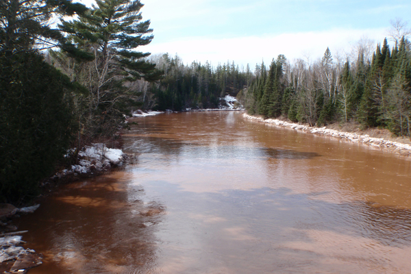 Springtime high water associated with snow and ice melt on the Bad River near Odanah, WI. (Credit: USGS)
