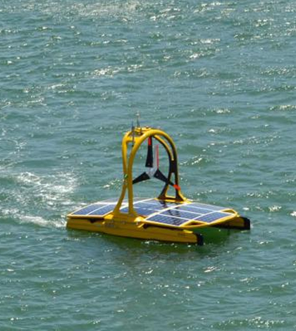 One of the three marine robots, the C-Enduro, collects water quality data. (Credit: National Oceanography Centre)