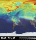 Carbon dioxide travels around the globe. (Credit: NASA's Goddard Space Flight Center / B. Putman)