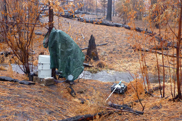 The researchers equipped small perennial streams in the burned area with autosamplers and other monitoring equipment. (Courtesy Yosemite National Park)