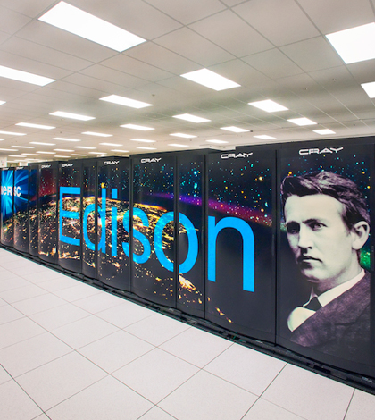 NERSC Cray Edison supercomputer cluster. (Roy Kaltschmidt / Lawrence Berkeley National Laboratory)