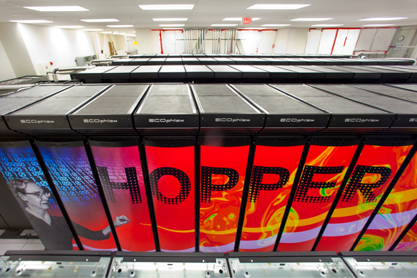 NERSC Cray XE6 Hopper supercomputer cluster. (Roy Kaltschmidt / Lawrence Berkeley National Laboratory)