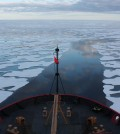 Scientists collected sea ice data from aboard the U.S. Coast Guard Cutter Healy in the Beaufort Sea. (Credit: NASA)
