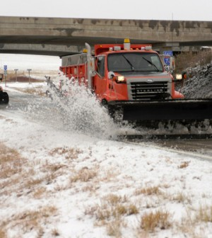Road salt runoff may contribute to a rise in chloride concentrations of streams. (Credit: Kansas Department of Transportation)