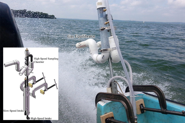 The FLAMe platform samples surface water while traveling at high speeds. (Credit: Environmental Science & Technology)