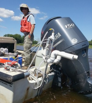 The FLAMe platform samples surface water for onboard sensors to analyze. (Credit: John Crawford)