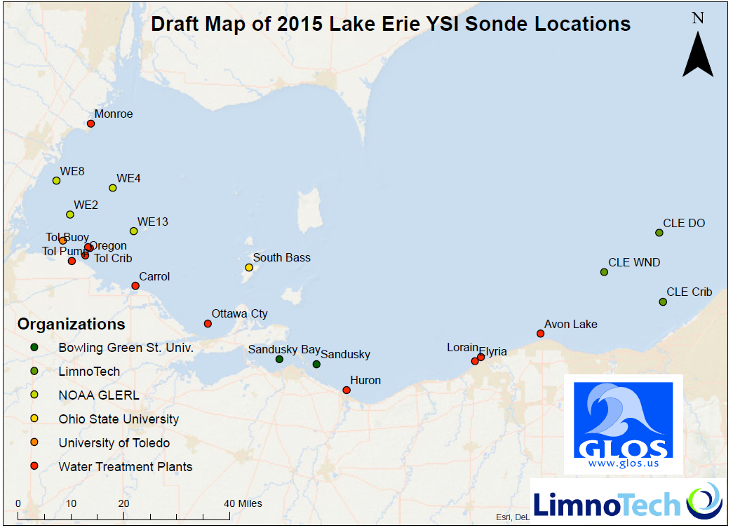 Potential locations of YSI EXO2 sondes and algae sensors. (Credit: Ed Verhamme)