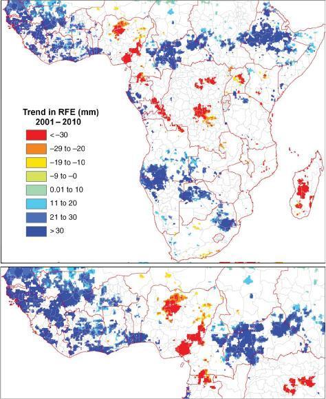 Rainfall trends over 10 years. (Credit: Heiko Balzter, et al)