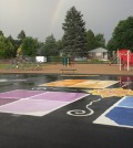 Coal-tar-based sealants are commonly used to improve the resilience and appearance of privately owned playgrounds and parking lots. (Credit: USGS)