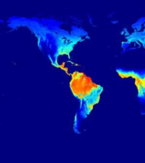 Evapotranspiration compiled from MODIS/NASA. (Courtesy of University of Maryland)