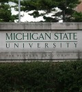 Michigan State University sign on campus. (Credit: Branislav Odrasik)