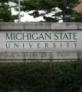 Michigan State University sign on campus. (Credit: Branislav Odrasik)