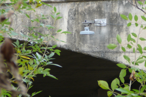 An OTT RLS Radar Water Level Sensor mounted in a bridge application. (Credit: OTT Sensors)